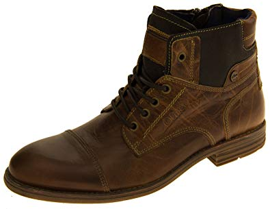 s.Oliver shoes s.oliver mens cognac leather combat boots 10 d(m) us YCDHICA