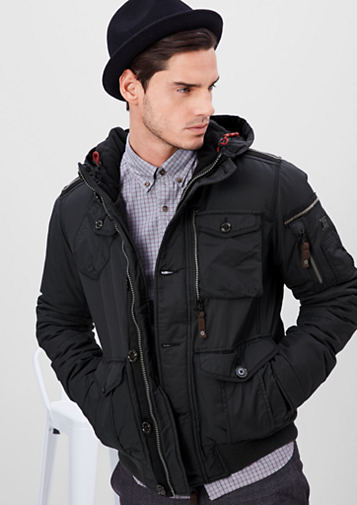 S.OLIVER WINTER COATS s.oliver men sporty winter jacket with a hood dark grey i90h1654 larger  image BVZHDAE
