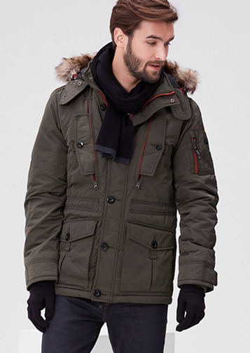 S.OLIVER WINTER COATS s.oliver men warm winter jacket with contrasting details green p89h3122 BOCXVKM