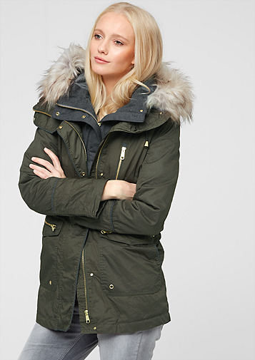s.Oliver Women's Jackets s.oliver women 2 - in - 1 outdoor parka fir green m3w8542 VAOZAZW