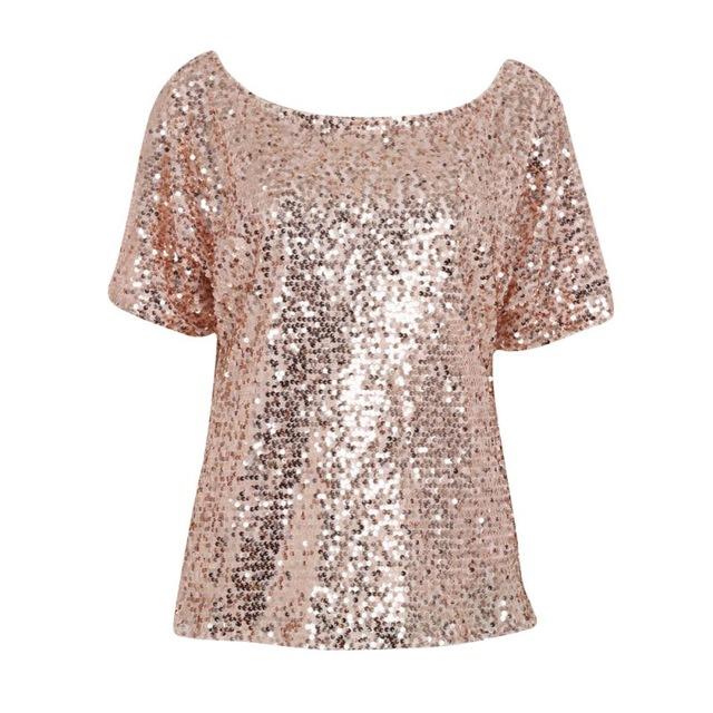 Sequin Shirts women lady sequin stitching sequined tops blouse fashion bling 3/4 sleeve  shirt tops summer ZTCVISL