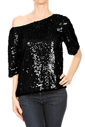 Sequin tops anna-kaci womens short sleeve one shoulder sexy sequin top blouse, black,  small DERYMJT