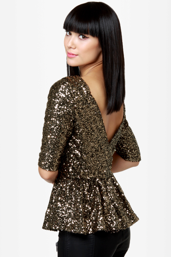 Sequin tops party topper gold sequin top BTTZQNE