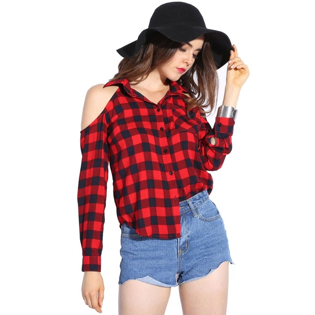 Shirt for women dioufond cold shoulder women shirts 2017 spring style shirt long sleeve  ladies tops plaid red IKOYNUT