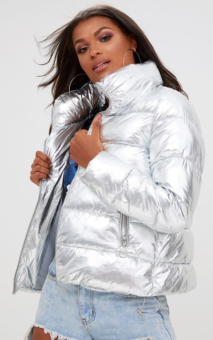 Silver jackets silver foil puffer jacket. coats u0026 jackets | prettylittlething usa AIABNTX