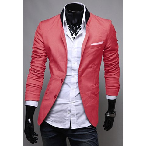 spring new style solid color pocket applique design blazer for men -  watermelon red m AIHVLQE