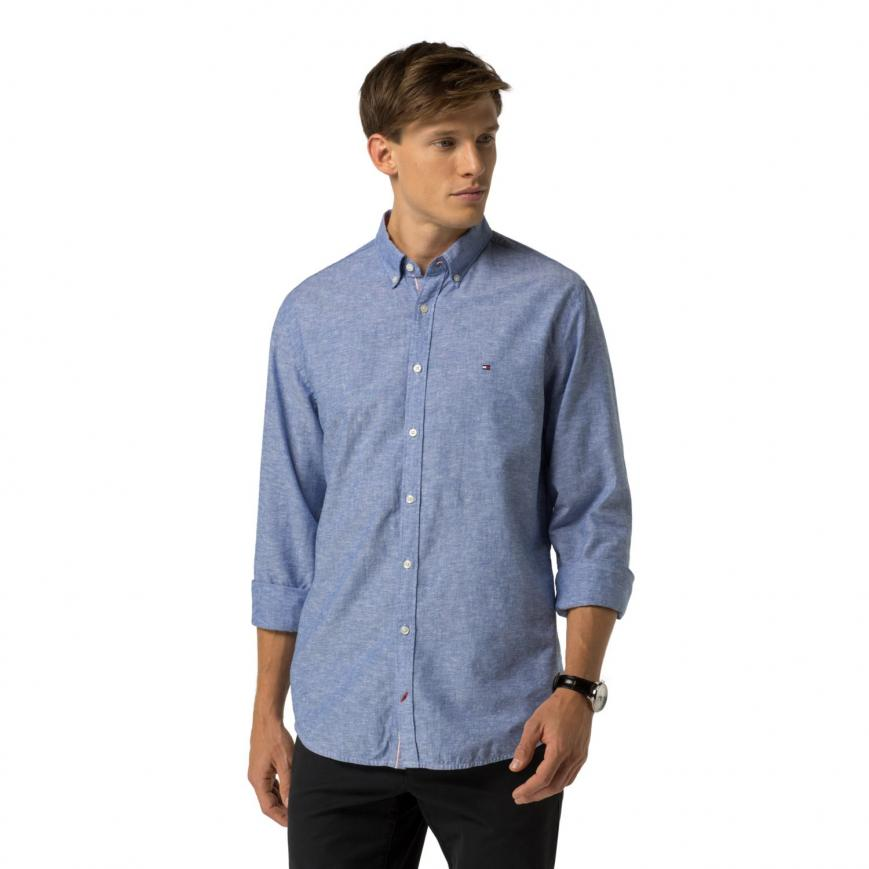 Tommy Hilfiger New York Fit Shirts casual shirts blue - tommy hilfiger new york fit cotton linen shirt mens  nautical blue RKLZNUH