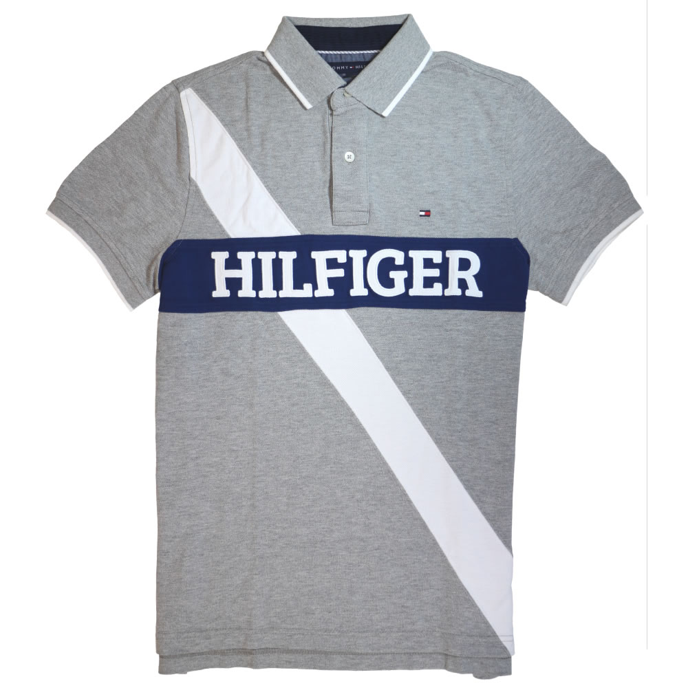 TOMMY HILFIGER POLO SHIRTS herobox: custom fit pieced polo, tommy hilfiger genuine polo shirt (short  sleeve) tommy hilfiger (gray) IFKYDXG