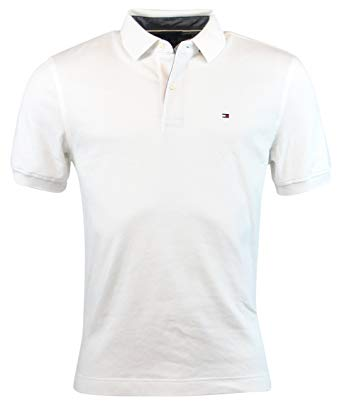 TOMMY HILFIGER POLO SHIRTS tommy hilfiger mens classic fit interlock polo shirt (white, small) AGJVBZG