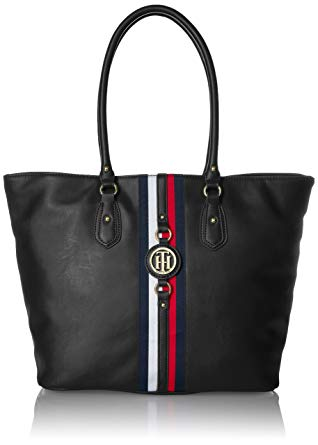 Tommy Hilfiger purses tommy hilfiger tote bag for women jaden, black polyvinyl chloride SEFYIYU