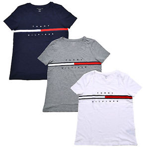 TOMMY HILFIGER SHIRTS FOR WOMEN image is loading tommy-hilfiger-womens-t-shirt-big-logo-relaxed- GRWNDPN