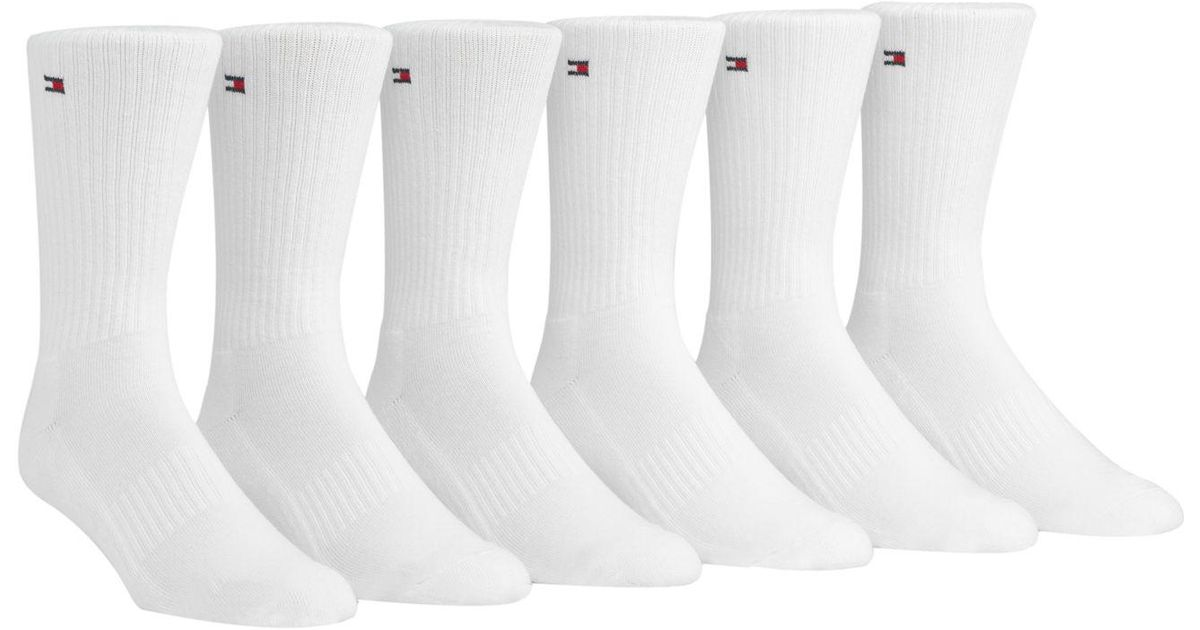 TOMMY HILFIGER SOCKS lyst - tommy hilfiger 6-pack sports crew socks in white for men LMIKTRR