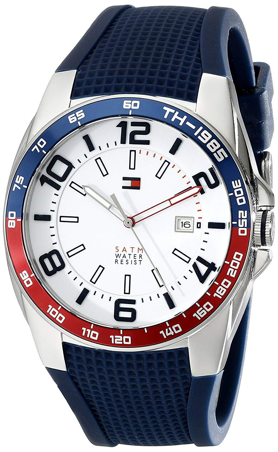 Tommy Hilfiger Sport Watches amazon.com: tommy hilfiger menu0027s 1790885 stainless steel watch with blue  silicone band: tommy hilfiger: watches HCJVBHC