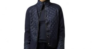 TOMMY HILFIGER TRANSITIONAL JACKETS outerwear peacoat - tommy hilfiger quilted combo jacket womens peacoat LIDQEWK