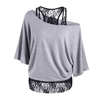 Tops for Women women top women plus size lace loose casual tops blouse shirt (m, gray) SUZJCDS