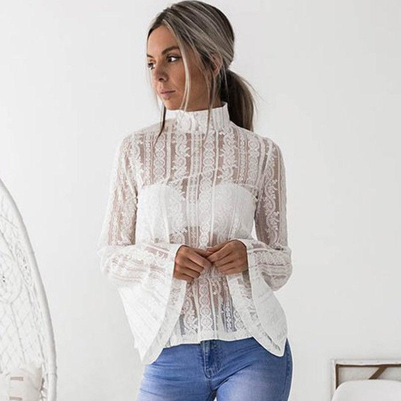 Transparent Blouses 2018 gumprun 2018 summer women sexy lace transparent blouse shirt eleflare  sleeve long sleeve blouses WIHGBUE