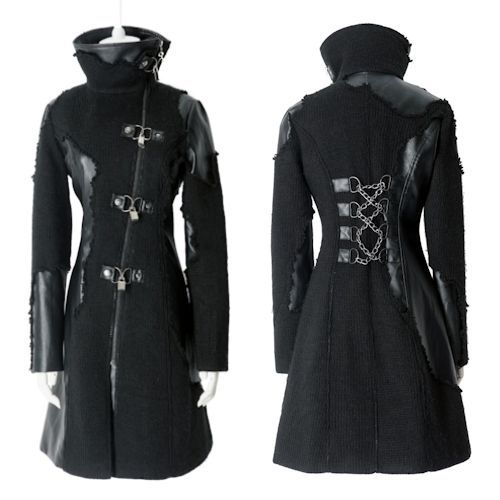 Trench coats for men and women alternative black cyber punk goth long jackets coats men women clothing YMSCKOX