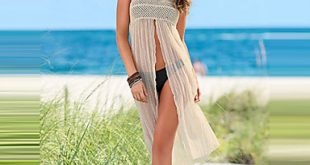 Trendy Beachwear sheer mesh beachwear dress creamy white see through new trendy beach wrap  two SNQADII