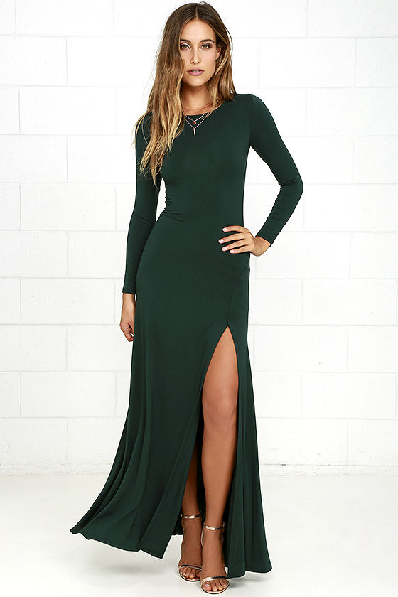 Trendy Tops for women lulus swept away forest green long sleeve maxi dress WBHWJIN