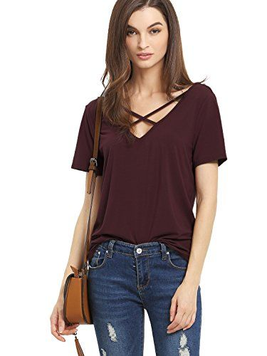 Trendy Tops for women romwe womenu0027s casual short sleeve solid v-neck t-shirt tops burgundy l, trendy  clothes women over KZKYTNA