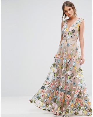 True Decadence true decadence allover embroidered maxi dress - multi JVMIDYZ