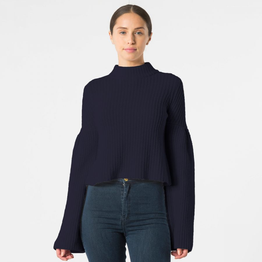 Trumpet Sleeves cropped mock sweater with trumpet sleeves WSLQZPE