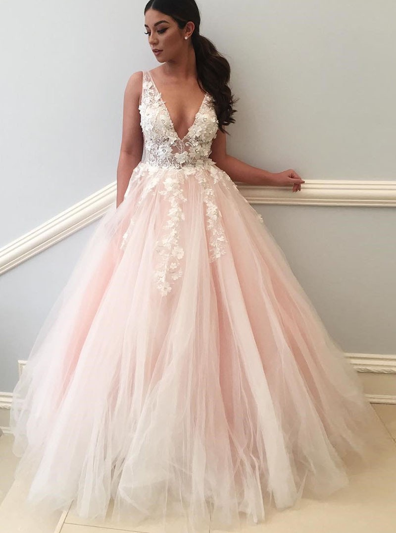 Tulle Dresses ball gown deep v-neck backless light pink tulle appliques wedding dress QSJXPHP