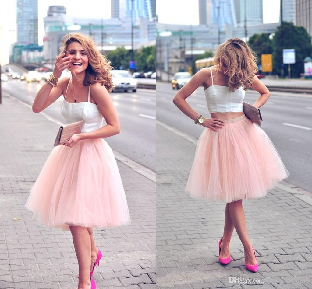 Tulle Skirts 2018 pale pink short tulle skirts for women satin waist full fluffy tutu  knee length IWWTVNB