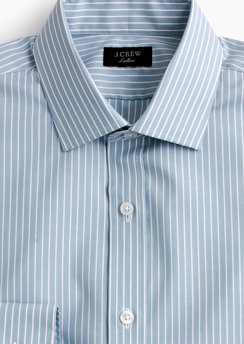 Two Ply Shirts ludlow slim-fit stretch two-ply easy-care cotton dress shirt in blue stripe FTGKRBI