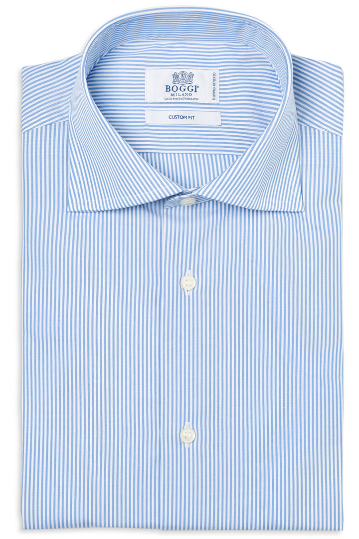 Two Ply Shirts two ply popeline cotton shirt, light blue, large UZEMWPS