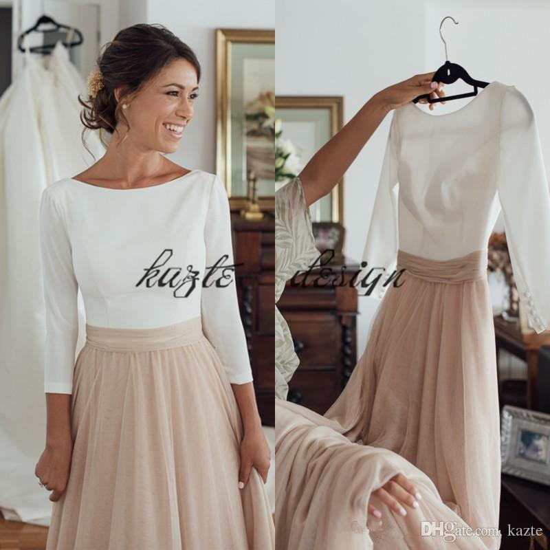 Two tone dresses discount two tone country long sleeve wedding dresses 2018 plus size  champagne and white cheap DFQRBBX