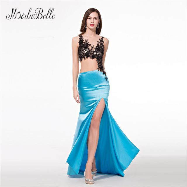 Two tone dresses modabelle two tone sexy mermaid silt long prom dresses lace top floor  length women evening ORWQXHO