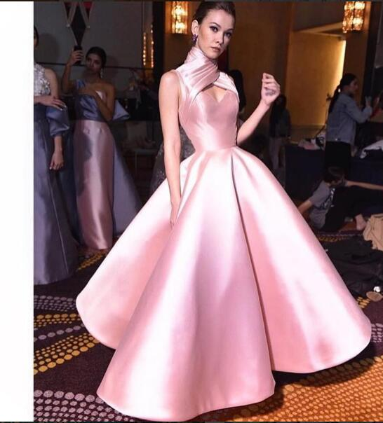 UNIQUE DRESSES 2017 elegant evening dress cheap prom dress ball gown unique high neck pink IHAQMFB