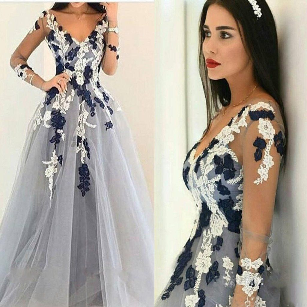 Unique Dresses 2017 long sleeves appliqued ball gown v-neck unique formal prom dress. the  long MTFYOCL