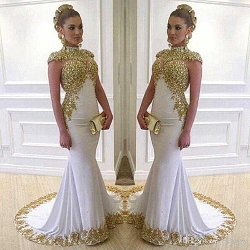 Unique Dresses 2017 new sexy white mermaid long unique prom dresses satin appliques beaded  high HNPFHLI