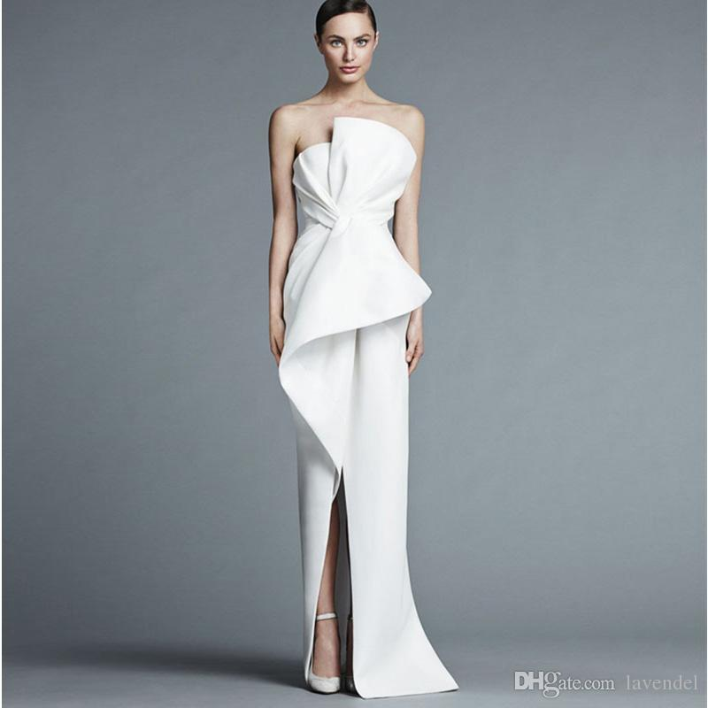 UNIQUE EVENING DRESSES unique strapless white evening gown floor length fashion with pleats middle  split women QDVAHDW