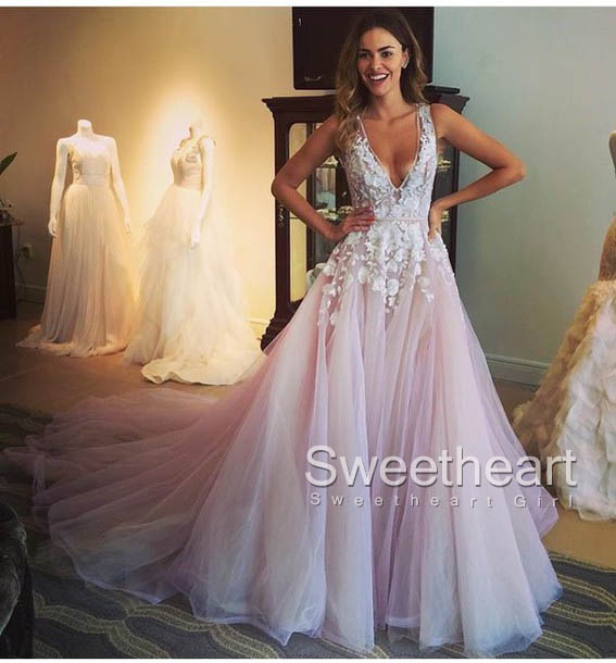 UNIQUE EVENING DRESSES unique v neck lace tulle long prom dress, evening dress BBMEUNB