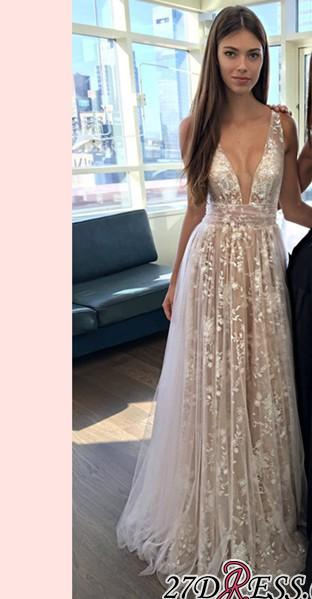 V-neck Evening Dresses ... 2019 a-line layers sexy lace-appliques deep-v-neck prom dresses ... VKAPDPB