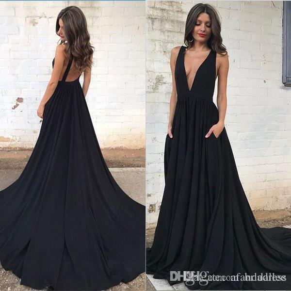 V-neck Evening Dresses elegant plunging v neck black prom dresses a line sleeveless sexy open back TPBYKHL