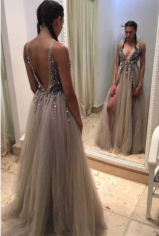 V-neck Evening Dresses sexy v-neck prom dresses,v backless prom dresses,crystal beads prom dresses,tulle  prom dresses with GNKDNVR