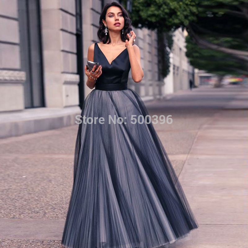 V-neck Evening Dresses tulle u0026satin concise v neck prom dresses 2016 a line evening gown elegant KOSWWCC