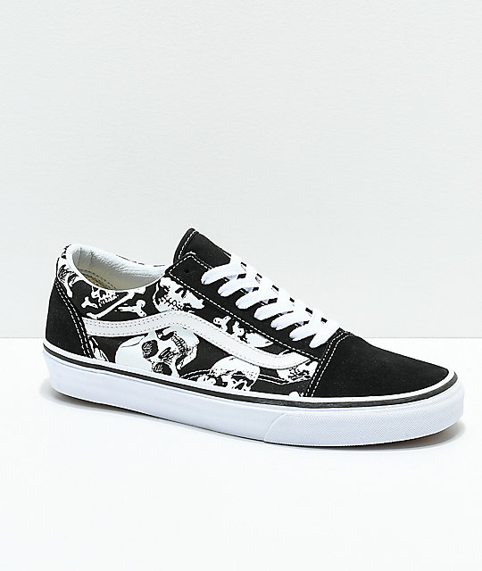 VANS Sneaker vans old skool skulls black u0026 white skate shoes ... FMYWPWL