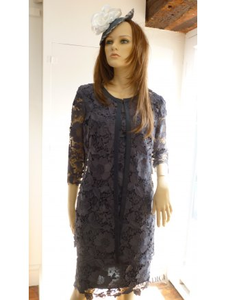VERA MONT CLOTHES vera mont lace dress with cap sleeve u0026 laced edge to edge coat slate GNIZMVN