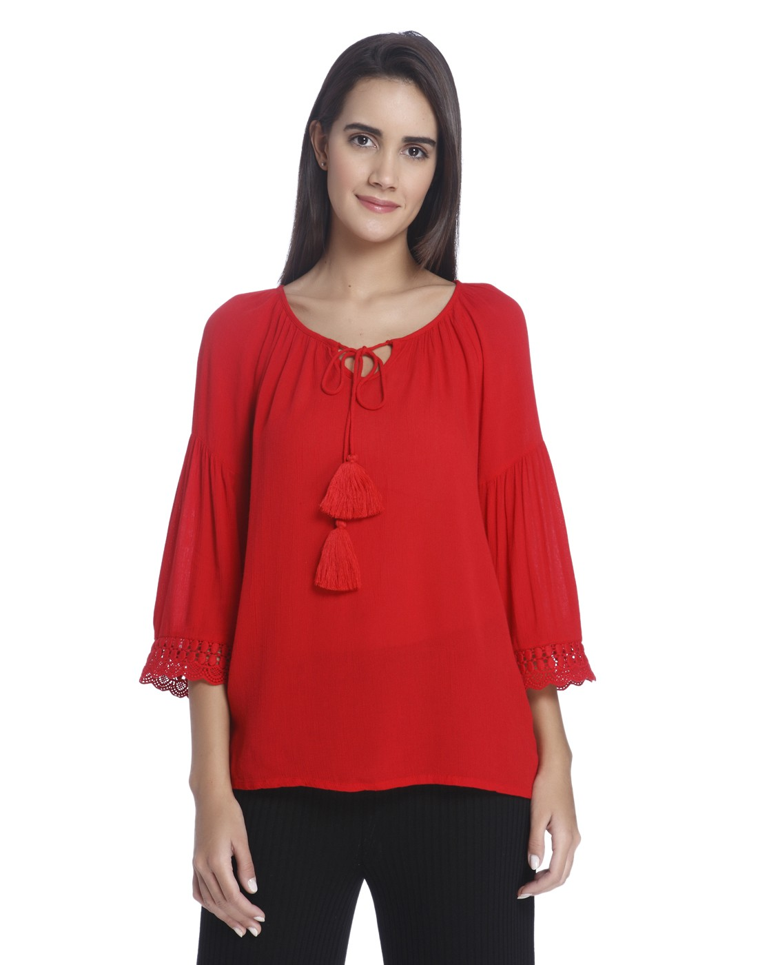 VERO MODA BLOUSES buy vero moda red blouse with flared sleeves online | vero moda JZOTKUM