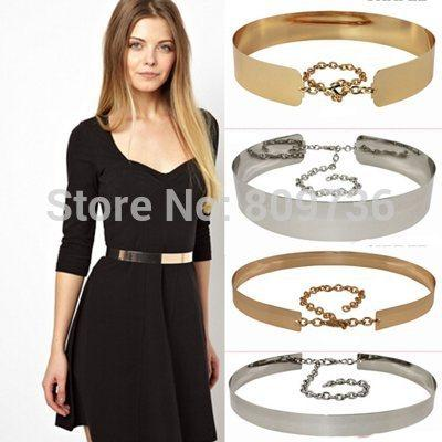 Waist Belts for women hot women full metal mirror waist belt metallic gold silver plate wide band XHPCARV