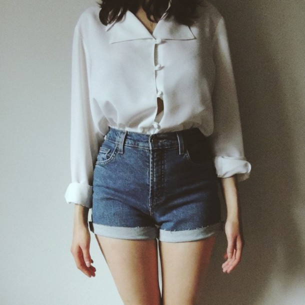 Waisted blouse blouse, button up, high waisted shorts, shorts, denim, vintage, white,  white blouse, hipster, VKKZEUN