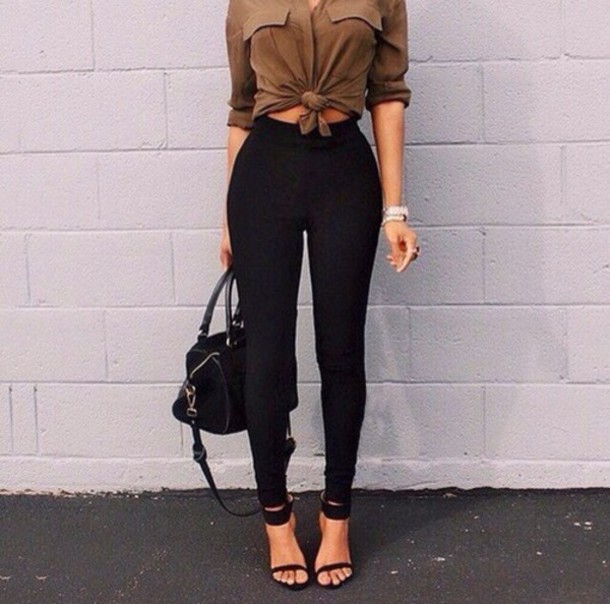 Waisted blouse t-shirt, blouse, tan, high waisted jeans, heels, bag, top, shirt, brown  shirt, tie BSQUXUR