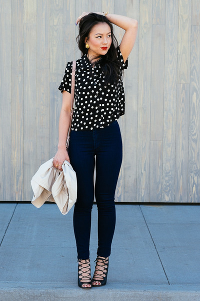 Waisted Shirts asos shirt - high waisted american apparel jeans - polka dot forever 21 bag FFUGJSS
