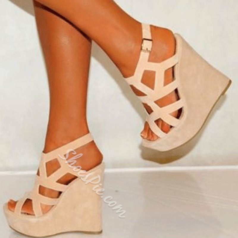 Wedge Sandals sophisticated coppy leatrher cut-outs wedge sandals WWIAJEA