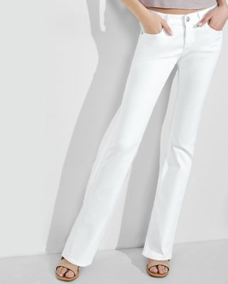 white jeans express view · white low rise stretch barely boot jeans IGCLNLK
